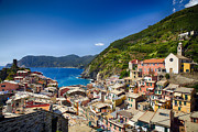 Northern Italy Framed Prints - Rooftop View of Vernazza Framed Print by George Oze
