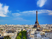 Rooftop Prints - Rooftop view on the Eiffel Tower Paris France Print by Michal Bednarek