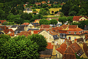 Red Buildings Posters - Rooftops in Sarlat Poster by Elena Elisseeva