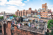 Urban Scenes Prints - Rooftops of Chinatown - New York City - Brooklyn Bridge Print by Gary Heller