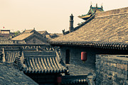 Old Shanghai China Prints - Rooftops of old Chinese city Pingyao Print by Fototrav Print