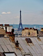 Chimneys Photo Framed Prints - Rooftops of Paris and Eiffel Tower Framed Print by Marilyn Dunlap