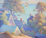 Sand Dunes Paintings - Rooftops of Provincetown Harbor by Ernest Principato
