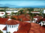 City Hall Painting Framed Prints - Rooftops of Santa Barbara Framed Print by Erin Rickelton