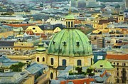 Domes Prints - Rooftops of Vienna Print by Jeff Kolker