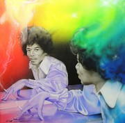 Jimi Hendrix Metal Prints - Room Full of Jimis Metal Print by Christian Chapman Art