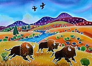 Yellowstone Painting Prints - Room to Roam Print by Harriet Peck Taylor