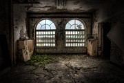 Abandoned Buildings Framed Prints - Room with two arched windows Framed Print by Gary Heller