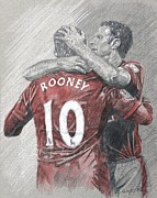 Wayne Rooney Framed Prints - Rooney and Giggs Framed Print by Stephen Rea