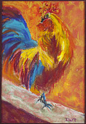 Fanciful Pastels Metal Prints - Rooster 2 Metal Print by Diana Tripp
