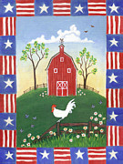 Patriotic Paintings - Rooster Americana by Linda Mears