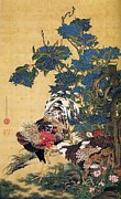 On Silk Paintings - Rooster and Hen by Pg Reproductions