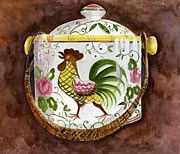 Cookie Painting Prints - Rooster and Roses Cookie Jar Print by Sheryl Heatherly Hawkins