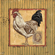 Old Stamps Framed Prints - Rooster and Stripes Framed Print by Debbie DeWitt