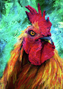 Rooster Colorful Expressions Print by Zeana Romanovna