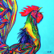 Cockerel Paintings - Rooster crow by Derrick Higgins