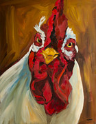 Rooster Art - Rooster Face by Diane Whitehead