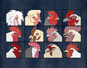 Patch Work Posters - Rooster Face horizontal Poster by Janet Carlson