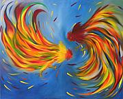 Integration Painting Prints - Rooster fight Print by Fanny Diaz