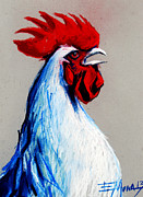 Of Color Pastels Posters - Rooster Head Poster by EMONA Art
