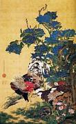 18th Century Paintings - Rooster - Hen - Hydrangeas by Pg Reproductions