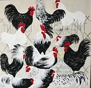 Flour Sack Prints - Rooster on Flour Sack Print by Donna Jean Carver