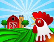 Rolling Doors Posters - Rooster on Green Pasture with Red Barn with Grain Silo  Poster by JPLDesigns
