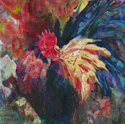 Yellow Beak Painting Posters - Rooster on Parade Poster by Melissa Gannon