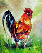Coffee Cup Animal Posters - Rooster Proud Poster by Anne Thouthip