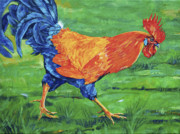 Coq Paintings - Rooster stroll by Derrick Higgins