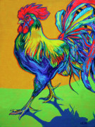 Coq Paintings - Rooster Strut by Derrick Higgins