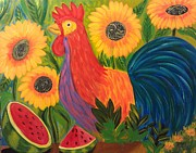 Deyanira Harris - Rooster with Sunflowers