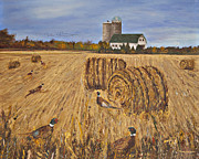 Bales Paintings - Roosters and Round Bales by Terry Anderson