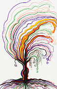 Tree Roots Drawings Prints - Rooted Tree Print by Nina Kuriloff