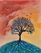 Tree Roots Painting Posters - Roots and Wings Poster by Cedar Lee