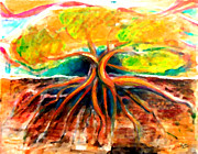 Tree Roots Painting Posters - Roots Poster by Marcello Cicchini
