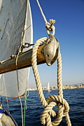 Water Vessels Framed Prints - Rope on sailboat mast during navigation Framed Print by Sami Sarkis