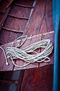 Silvia Ganora Framed Prints - Rope with blue oar Framed Print by Silvia Ganora