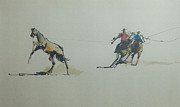 Roping Horse Paintings - Ropers by Chuck Hayden