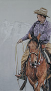 Jackson Pastels Prints - Roping at Pinto Print by Joni Beinborn