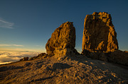 Spencer Prints - Roque Nublo farther and sun monoliths at sunset Print by Ben Spencer