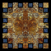 Stone Tapestries - Textiles Prints - Rorshach Yantra nine oh four Print by Bruce Ricker