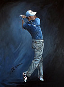 Famous Golfers Framed Prints - Rory Acrylic Sketch Framed Print by Mark Robinson