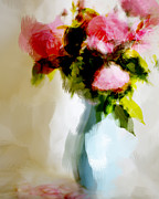Vase Of Flowers Digital Art Prints - Rosa Print by Linde Townsend