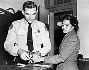 Police Officer Framed Prints - Rosa Parks Gets Fingerprinted Framed Print by Underwood Archives