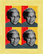 People Pyrography Framed Prints - Rosa Parks X4 Framed Print by Lawrence Hubbs