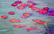 Lilly Pond Paintings - Rosannes Goldfish and Water Lilly Pond by Angela A Stanton