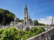 Rosary Photo Posters - Rosary Basilica in Lourdes France Poster by Graham Taylor