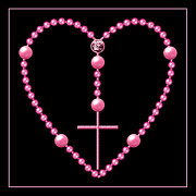 Queen Of Heaven Prints - Rosary with Pink and Purple Beads Print by Rose Santuci-Sofranko