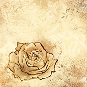 Outline Digital Art - Rose by Alison Schmidt Carson
